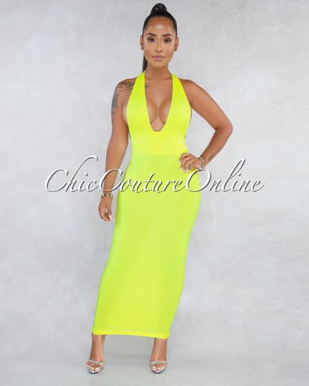 Belen Neon Green Ribbed Halter Maxi Dress