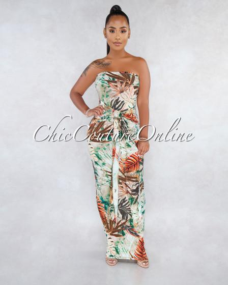 Terriska Brown Orange Leaf Print Print Front Tie Maxi Dress