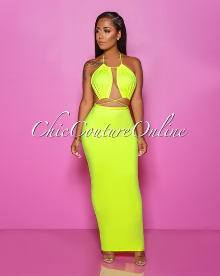 Melany Neon Yellow Cut-Out Strappy Maxi Dress