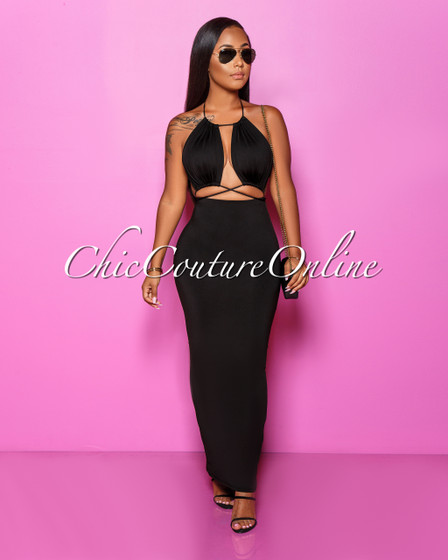 Melany Black Cut-Out Strappy Maxi Dress