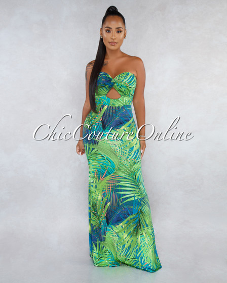 Zenon Green Multi-Color Print Front Knot Cut-Out Maxi Dress