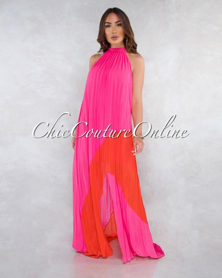 Jaxton Fuchsia Orange Pleated Asymmetrical Maxi Dress