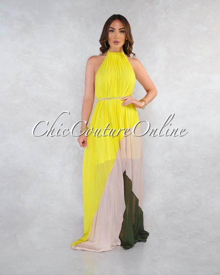 Jaxton Lemon Beige Pleated Asymmetrical Maxi Dress