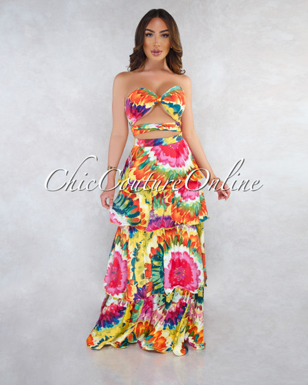 Yancy Multi-Color Print Front Knot Ruffle Tier Maxi Dress