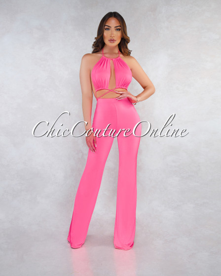 Torra Neon Pink Cut-Out Strappy Halter Jumpsuit