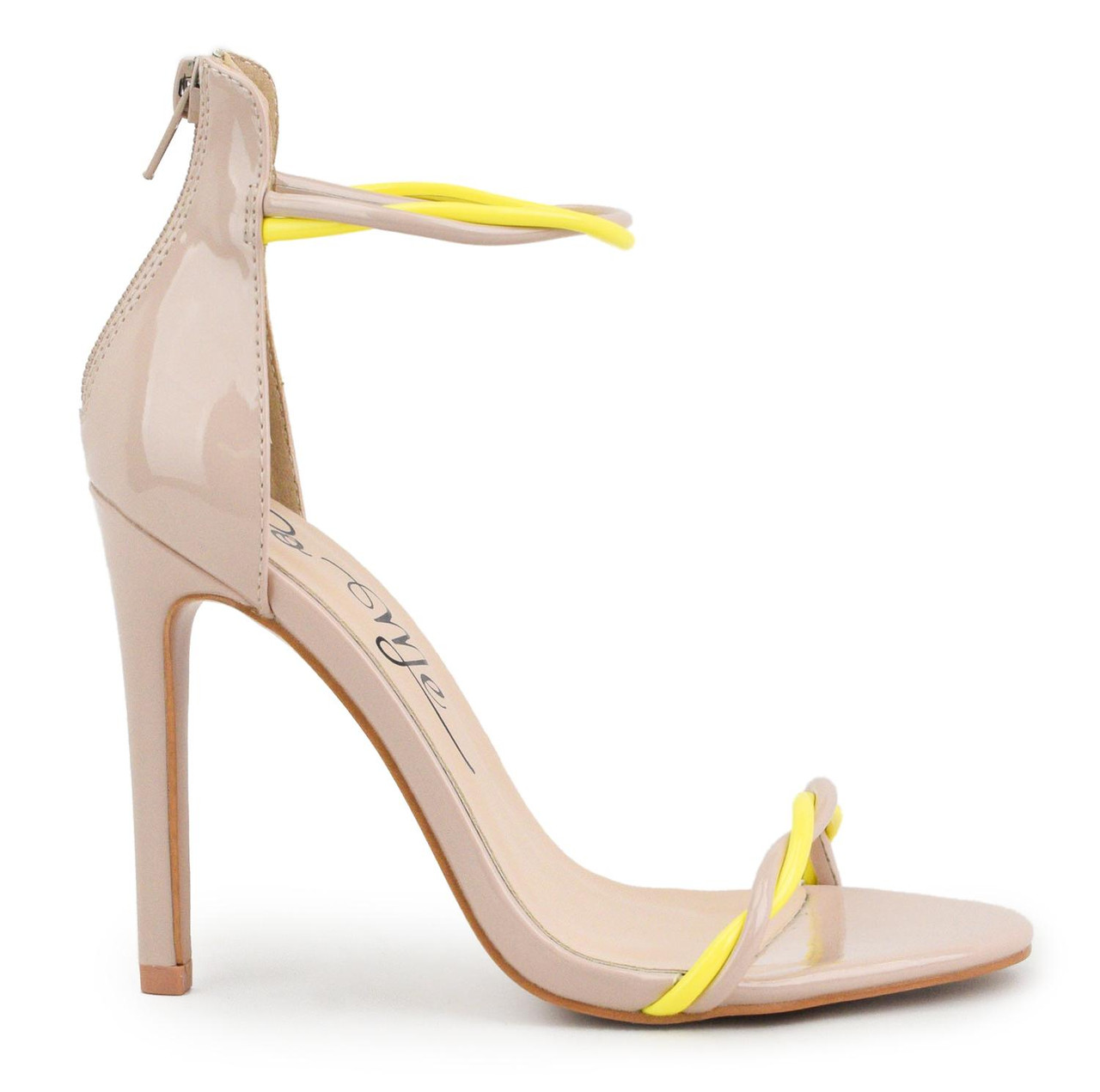 shopping best price lowest discount Nessa Nude Neon Yellow Turn Strap High Heel Sandals