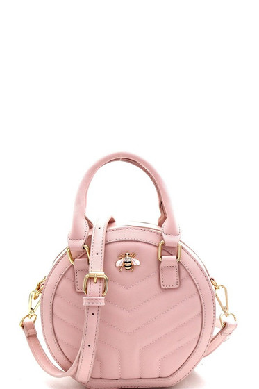 Charlotte Bee Charm Light Pink Quilted Round Medium Satchel Bag