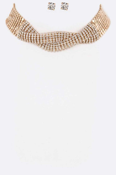 Syla Gold Crystal Twist Choker Necklace