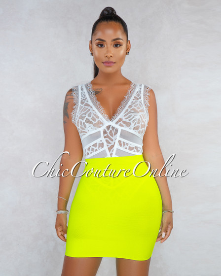 Tasha Neon Yellow Elastic Body-Con Bandage Mini Skirt