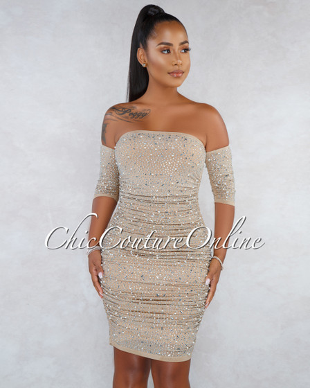 Stacy Nude Mesh Silver Rhinestone Pearl Accent Ruched Dress