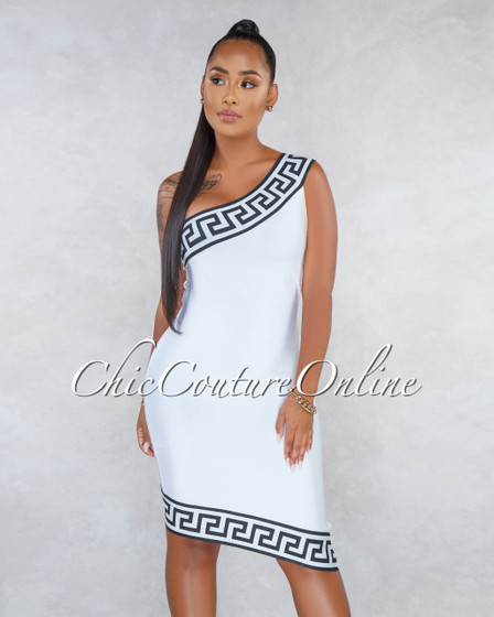 Selia White Black Fret Print One Shoulder Bandage Dress