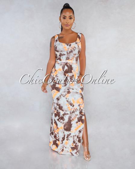 Palomina Brown Orange Tie-Dye Self-Tie Belt Ribbed Maxi Dress