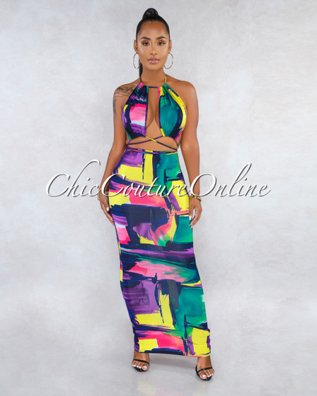 Melany Purple Multi-Color Print Cut-Out Strappy Maxi Dress