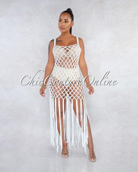 Acadia Off-White Crochet Cover-Up Fringe Dress