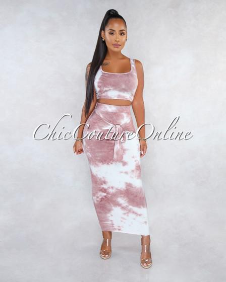 Adeja Mauve Tie-Dye Front Tie Skirt Two Piece Set