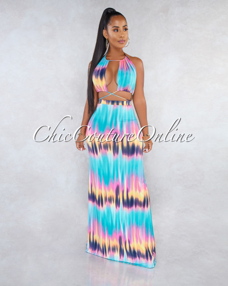 Agatha Teal Pink Print Cut-Out Top Maxi Skirt Two Piece Set