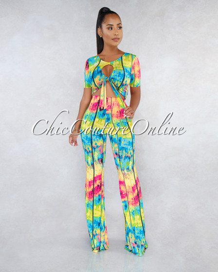 Stephan Bright Multi-Color Print Cut-Out Top Two Piece Set