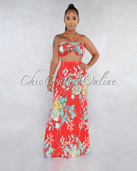 Shangai Red Floral Print Maxi Skirt Two Piece Set