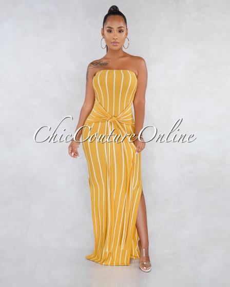 Fannie Mustard White Stripes Front Tie Strapless Maxi Dress