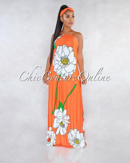 Macbeth Orange White Floral Print Halter Belt-Bandana Maxi Dress