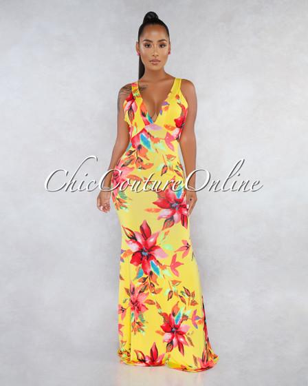 Sadira Yellow Floral Print Low Criss-Cross Back Maxi Dress