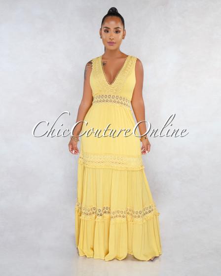 Madden Mustard Crochet Details Maxi Dress