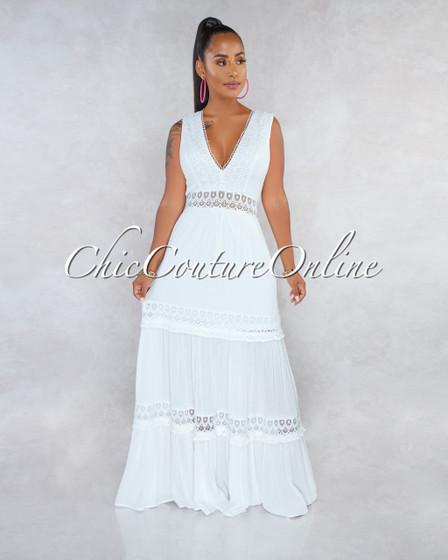 Madden Off-White Crochet Details Maxi Dress
