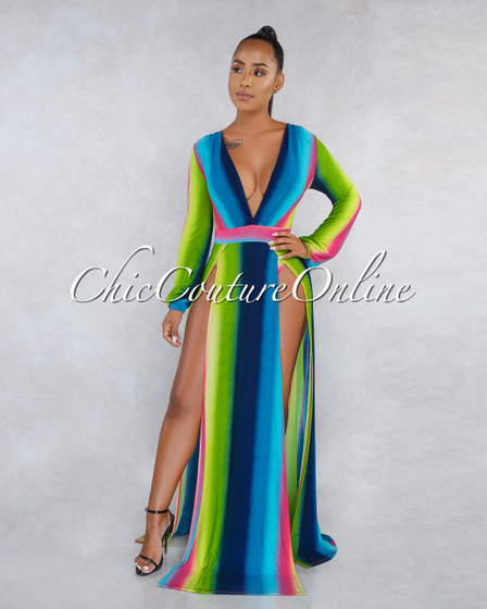 Obelia Multi-Color Ombre Stripes High Slits Maxi Dress