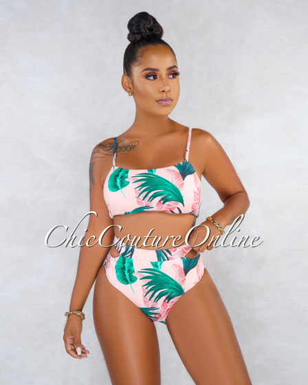 Laasya Blush Leaf Print Cut-Out Sides Bikini Two Piece Swimsuit