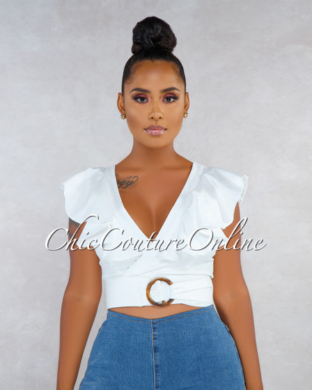 Camara Off-White Faux Wrap O-Ring Belt Ruffle Crop Top
