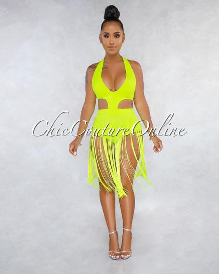 Nalan Neon Lime Cut-Out Sides Fringe Bodysuit Dress