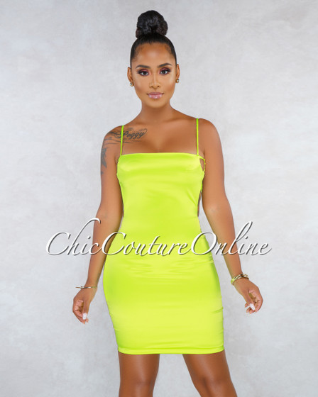 Nayla Neon Green Silky Open Back Mini Dress