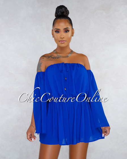Varsity Royal Blue Off-The-Shoulder Cut-Out Sleeves Romper