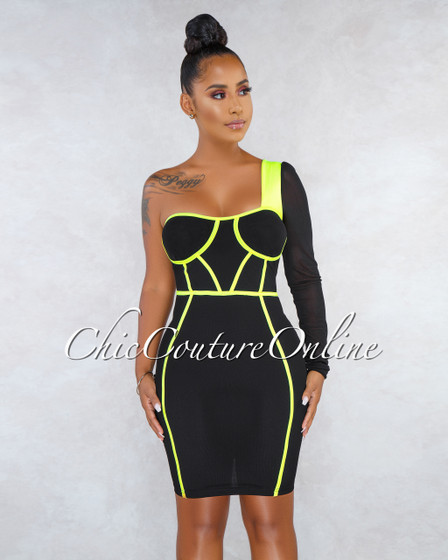 Mystique Black Neon Lime Trim Single Sleeve Padded Dress