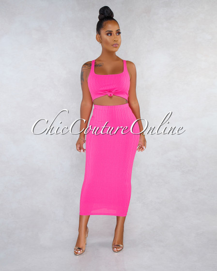 Nubia Fuchsia Ribbed Front Knot Top Pencil Skirt Two Piece Set