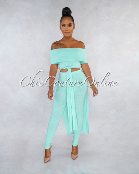 Giti Aquamarine Ribbed Front Tie High-Low Top Two Piece Set