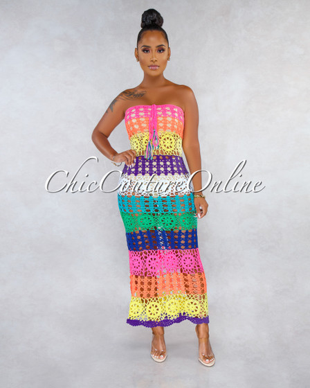 Maura Multi-Color Stripes Crochet Cover-Up Multi-Way Dress