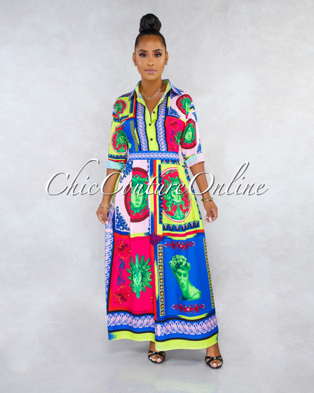 Maja Multi-Color Print Long Sleeves Maxi Shirt Dress