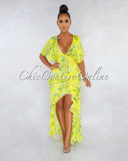 Kaliko Lime Yellow Floral Print Ruffle Details Hi-Low Dress