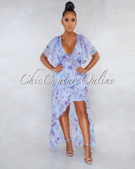 Kaliko Lavender Floral Print Ruffle Details Hi-Low Dress