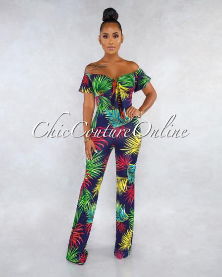 Elya Navy Blue Tropical Print Front Tie Jumpsuit