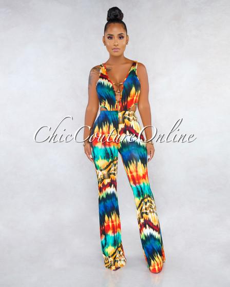 Loisya Orange Multi-Color Print Cut-Out Jumpsuit