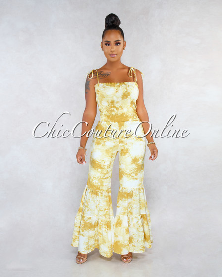 Tomma Yellow Tie-Dye Ruched Top Bell Hem Jumpsuit