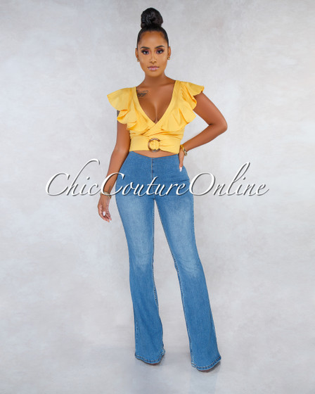 Jenella Blue Denim High Waist Bell Legs Pants
