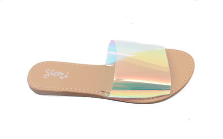 Lucy Nude Sole Holographic Upper Slides