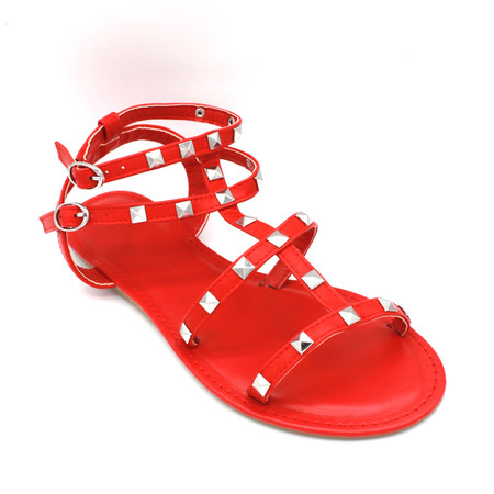 Clover Red Straps Silver Studs Flat Sandals