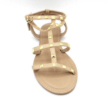 Clover Nude Straps Gold Studs Flat Sandals