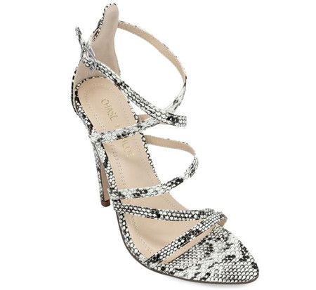 Remi Snake Print Criss-Cross Straps High Heel Sandals