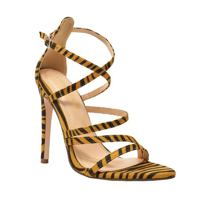 Remi Tan Zebra Faux Suede Criss-Cross Straps High Heel Sandals