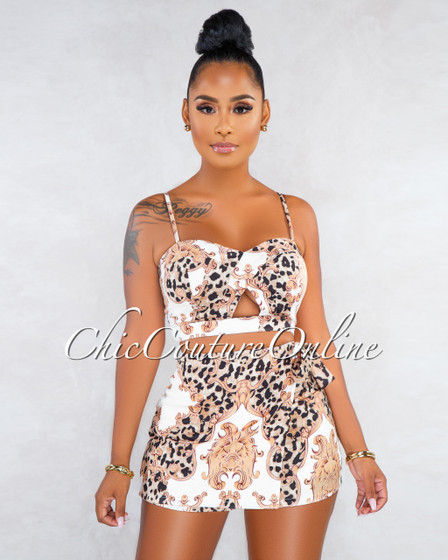 Claudine Off-White Leopard Print Top Cut-Out Skort Two Piece Set
